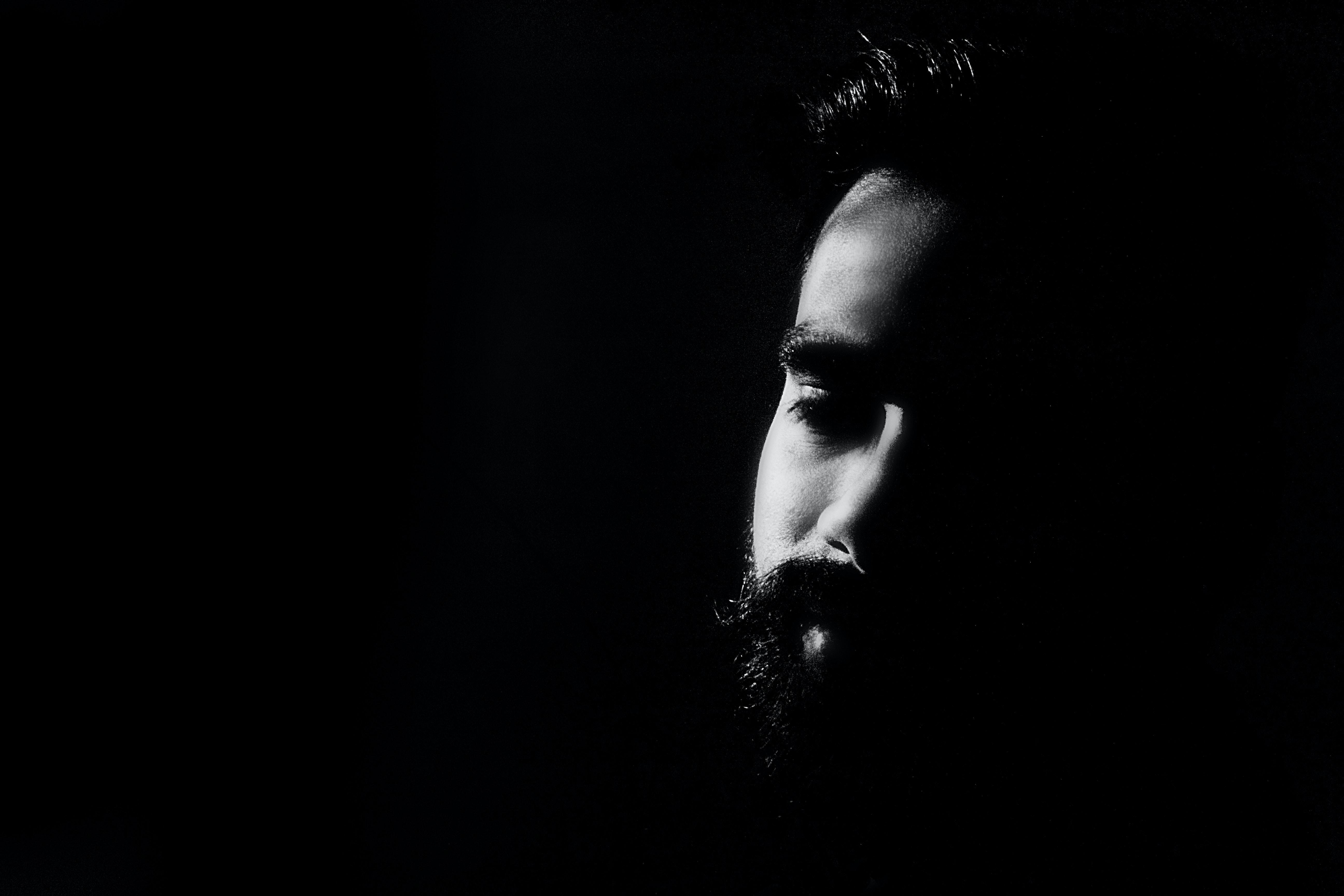 Man With Black Beard Free Stock Photo