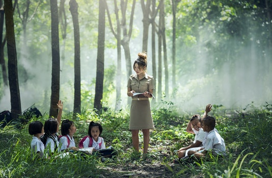 Woman in Gray Long Sleeve Dress Standing Between Childrens Near Woods and Grass