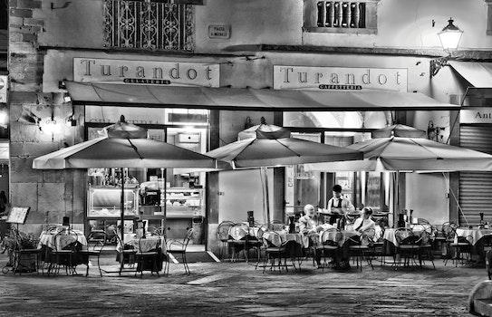 Free stock photo of black-and-white, city, restaurant, man