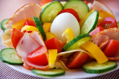 Sliced Cucumber and Tomato Salad Food Photography