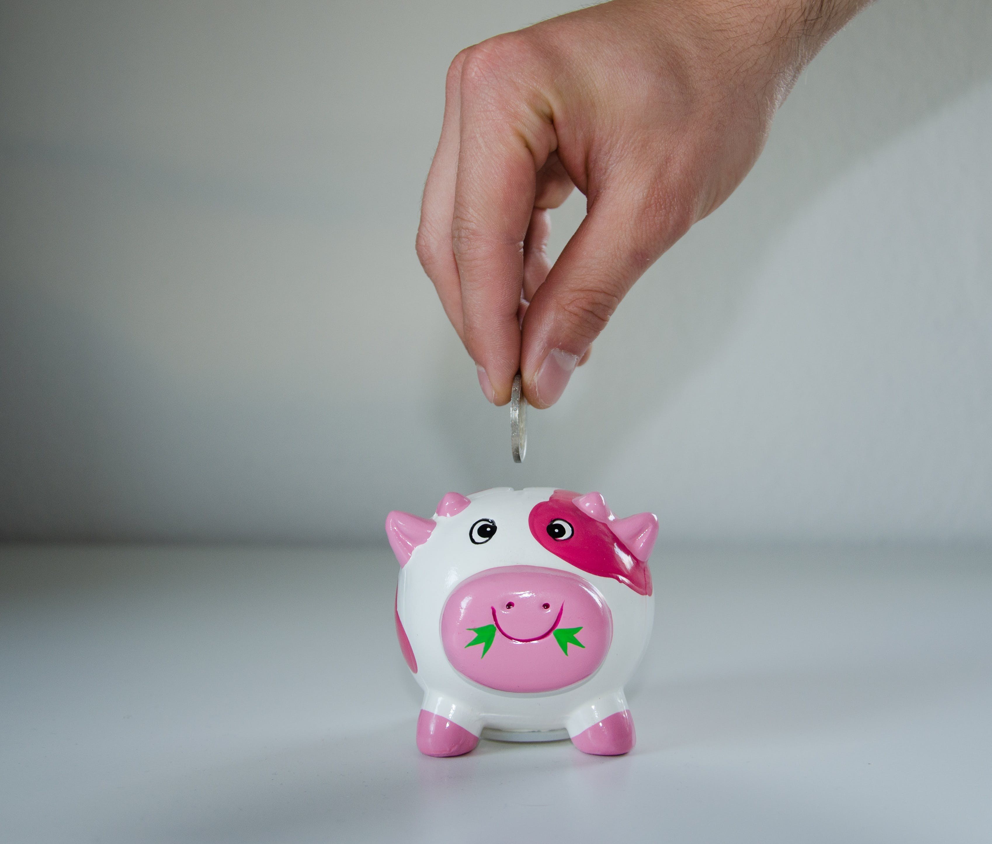 Pink and White Ceramic Pig Coin Bank