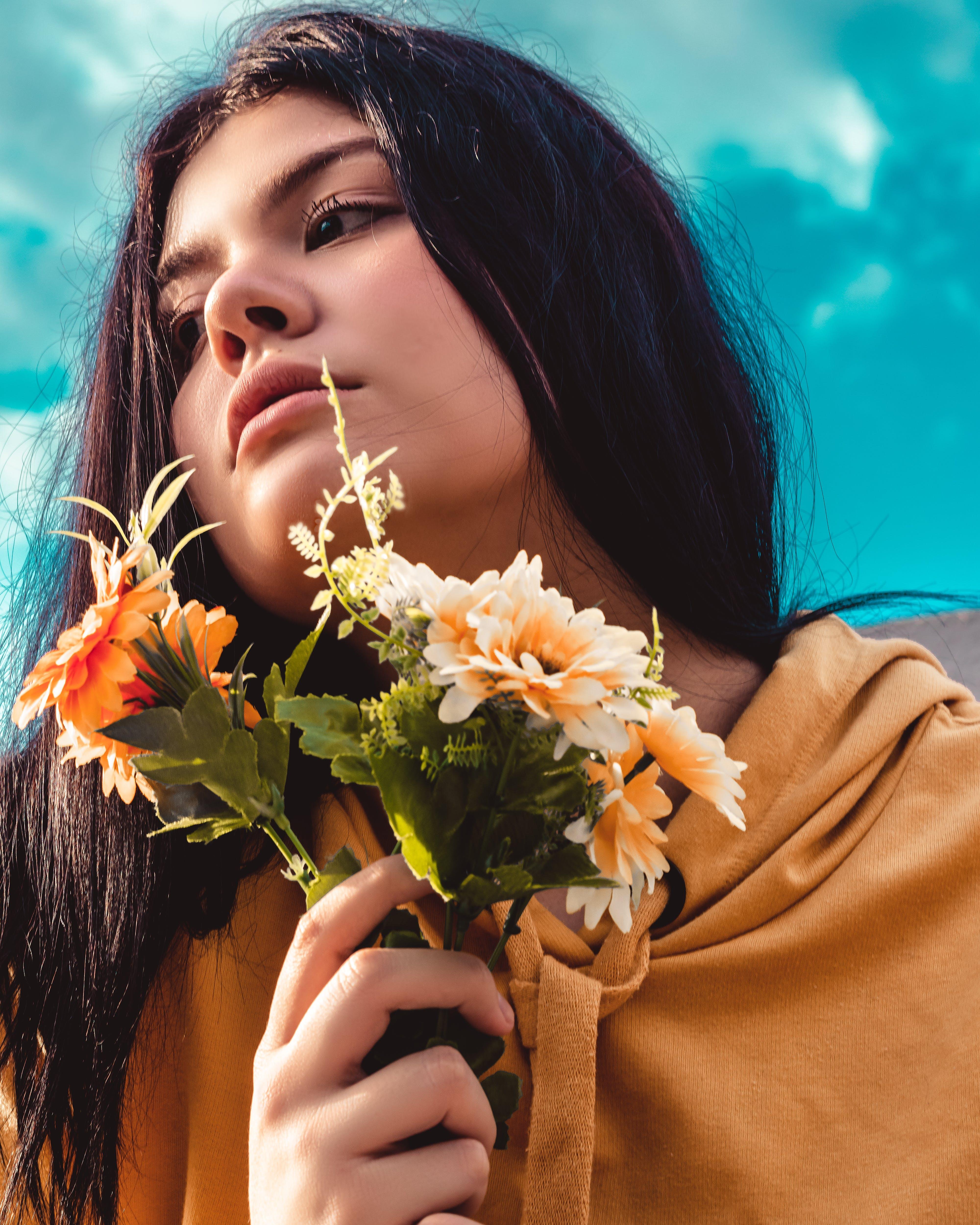 Free stock photo of beautiful flowers, female model, heaven, portrait photography