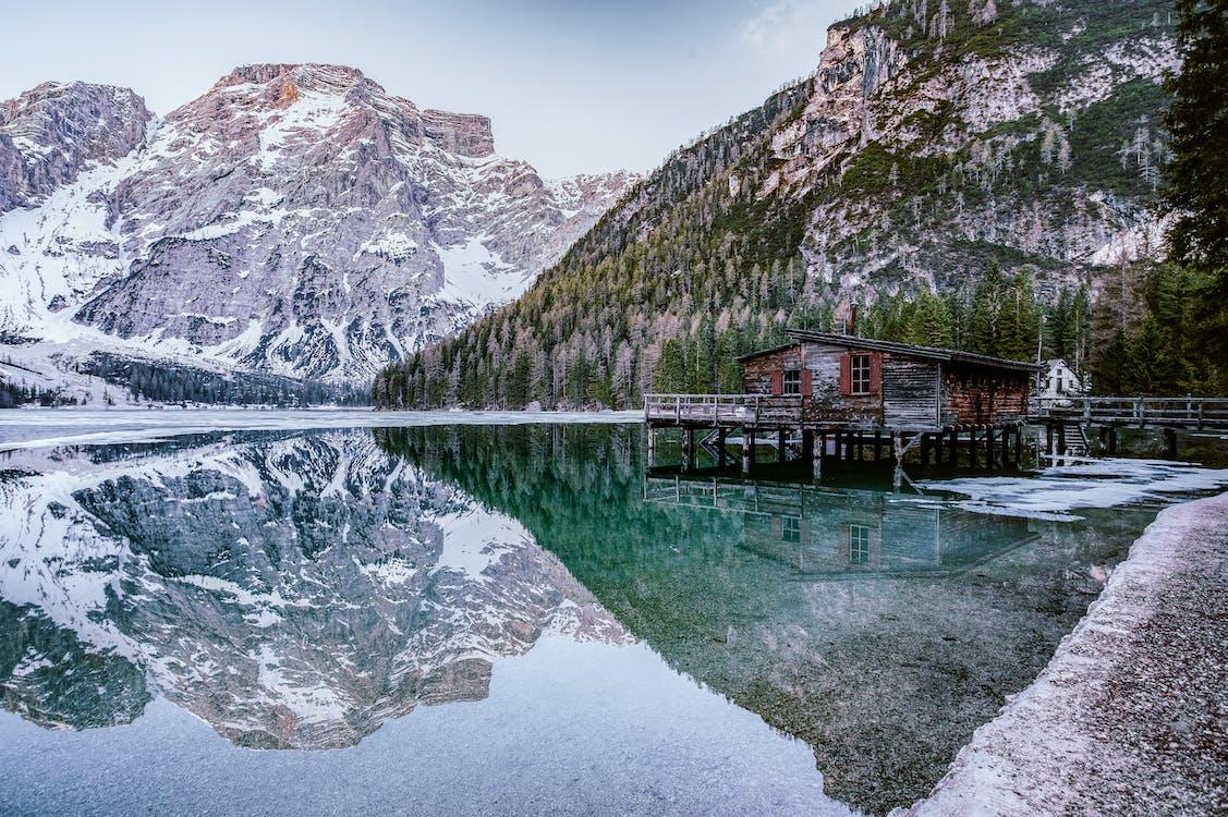 alpin, bord de lac, dolomites
