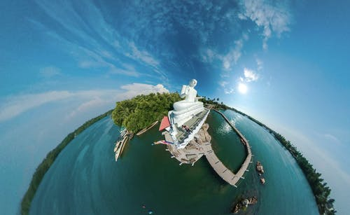 Бесплатное стоковое фото с 360 фотография, активный отдых, вода, деревья