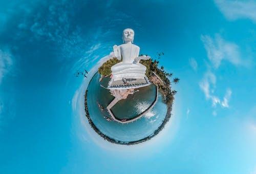 Tiny Planet Photo and Buddha Statue