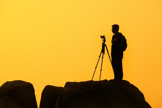 Free stock photo of camera, photographer, yellow, silhouette