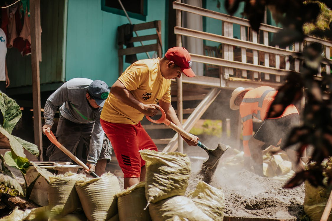 construcció, feina, gent