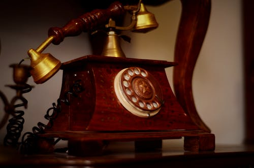 Brown And Brass Rotary Phone