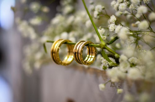 Close-Up Photo of Gold Wedding Rings