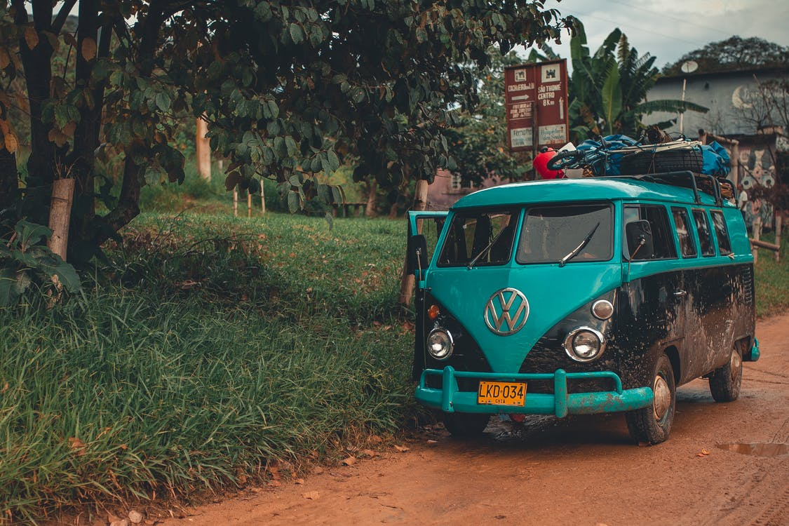 Photo of a Blue Volkswagen Van
