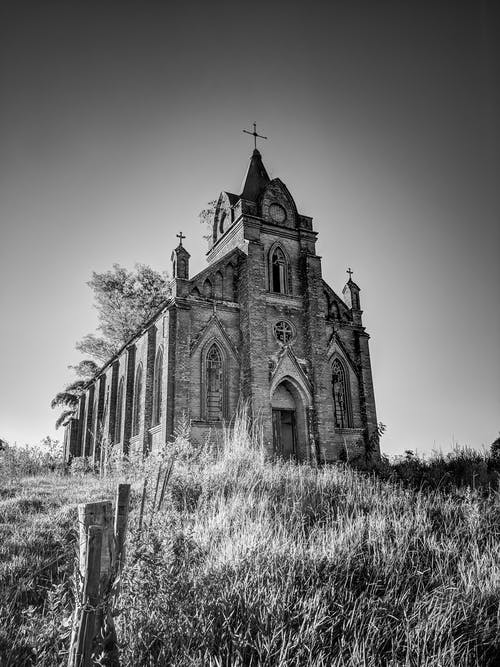 Grayscale Photograph of Church