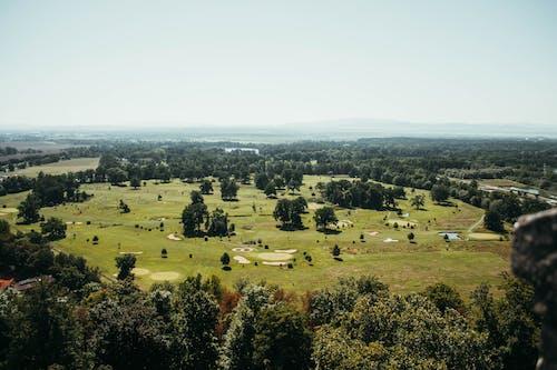 ドローン撮影, ハイアングルショット, フィールド, 夏の無料の写真素材
