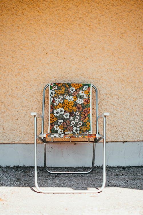antyczny, krzesło, kwiatowy