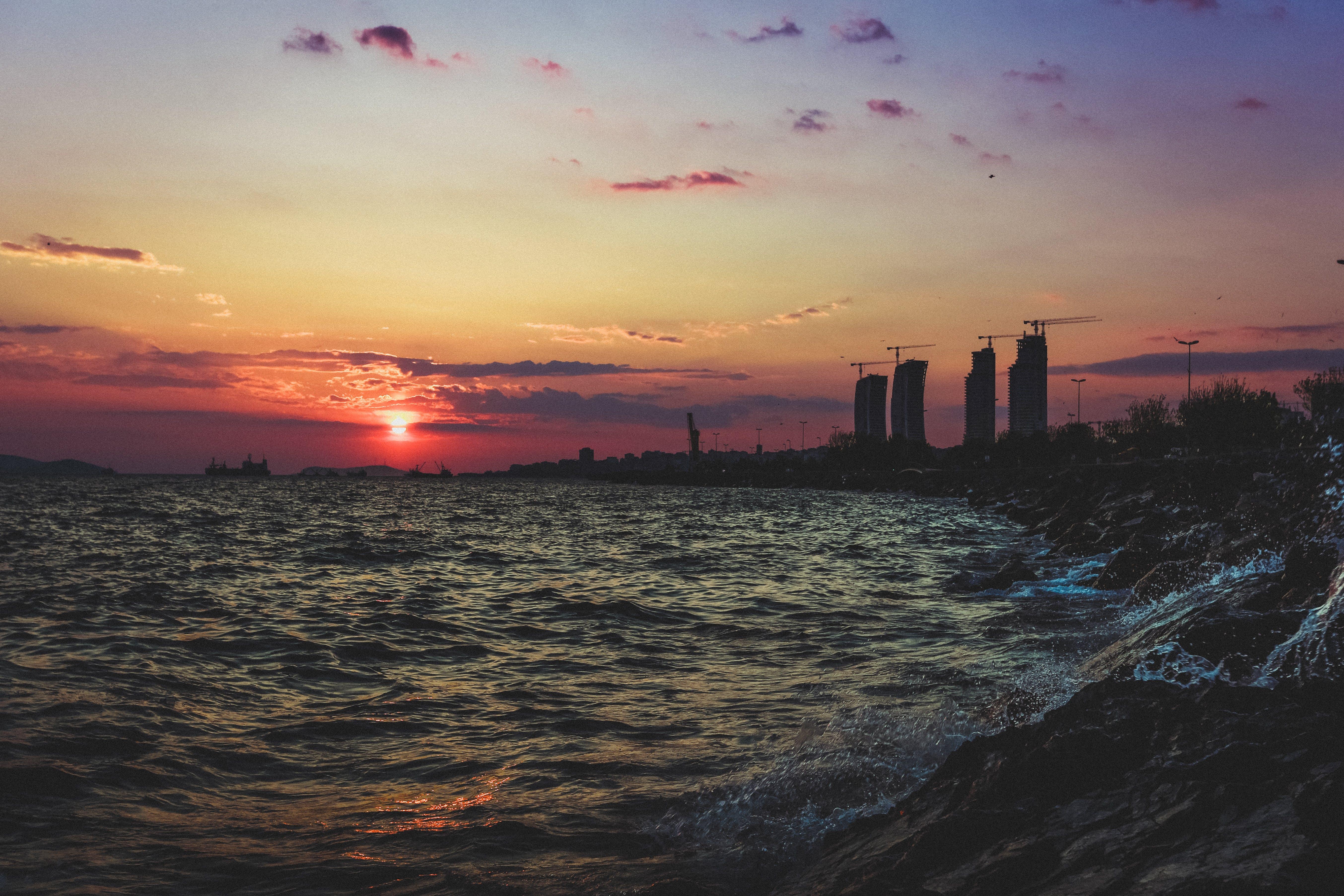 光, 剪影, 反射, 地平線 的 免费素材照片