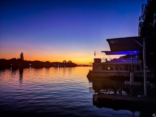 Ingyenes stockfotó folyó, kék, kék háttér, naplemente témában