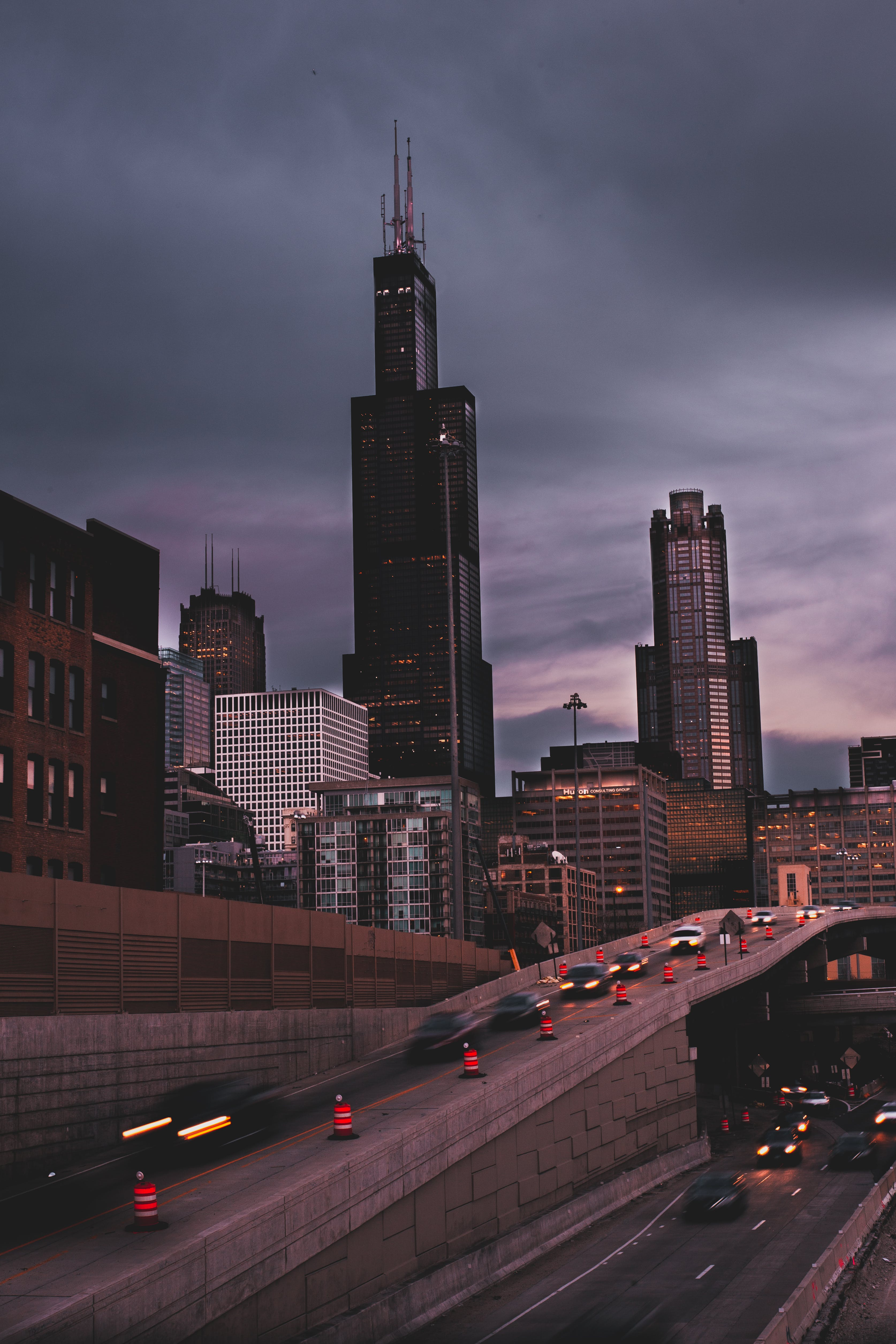Concrete Buildings Under Gray Sky