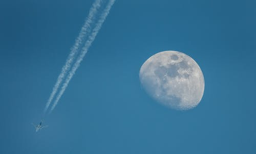Gratis stockfoto met hemel, maan, straaljager, vliegtuig