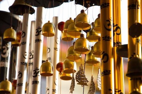 Безкоштовне стокове фото на тему «вітер куранти, висіння, Дзвони, золотистий»