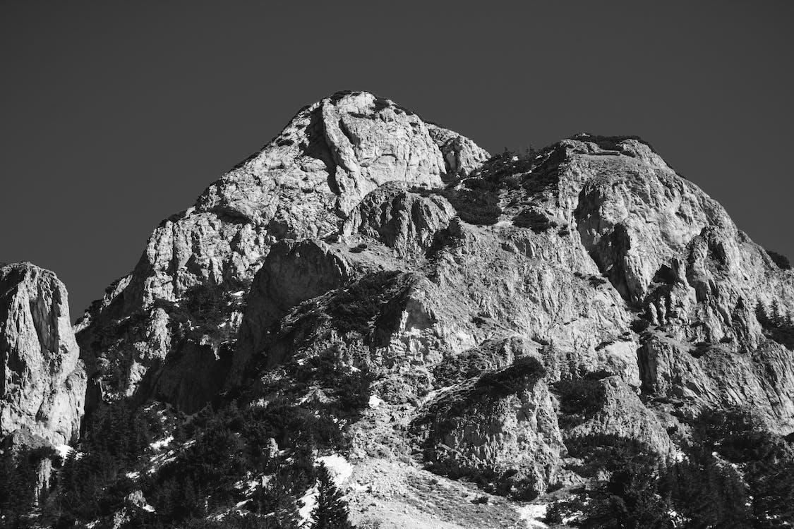 Greyscale Photo Of Mountain