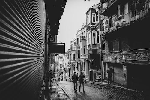 Two Men Walking on Street in Between Buildings