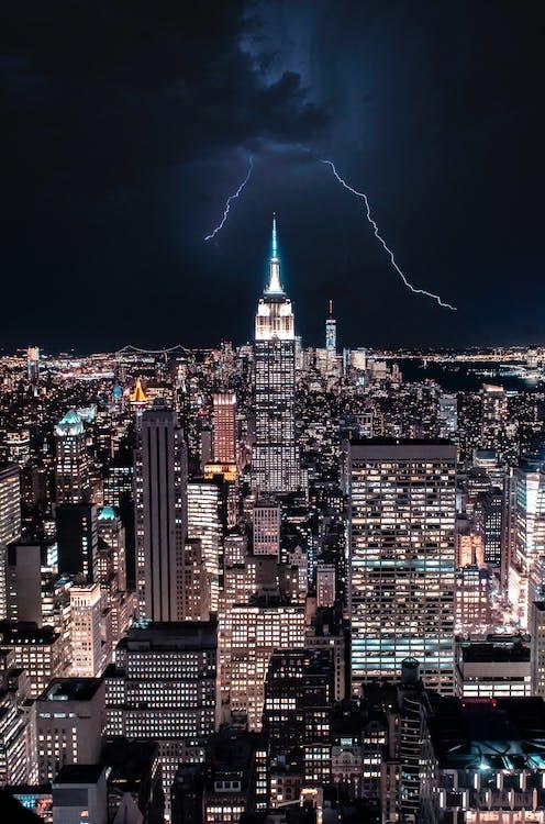 architektúra, budovy, búrka