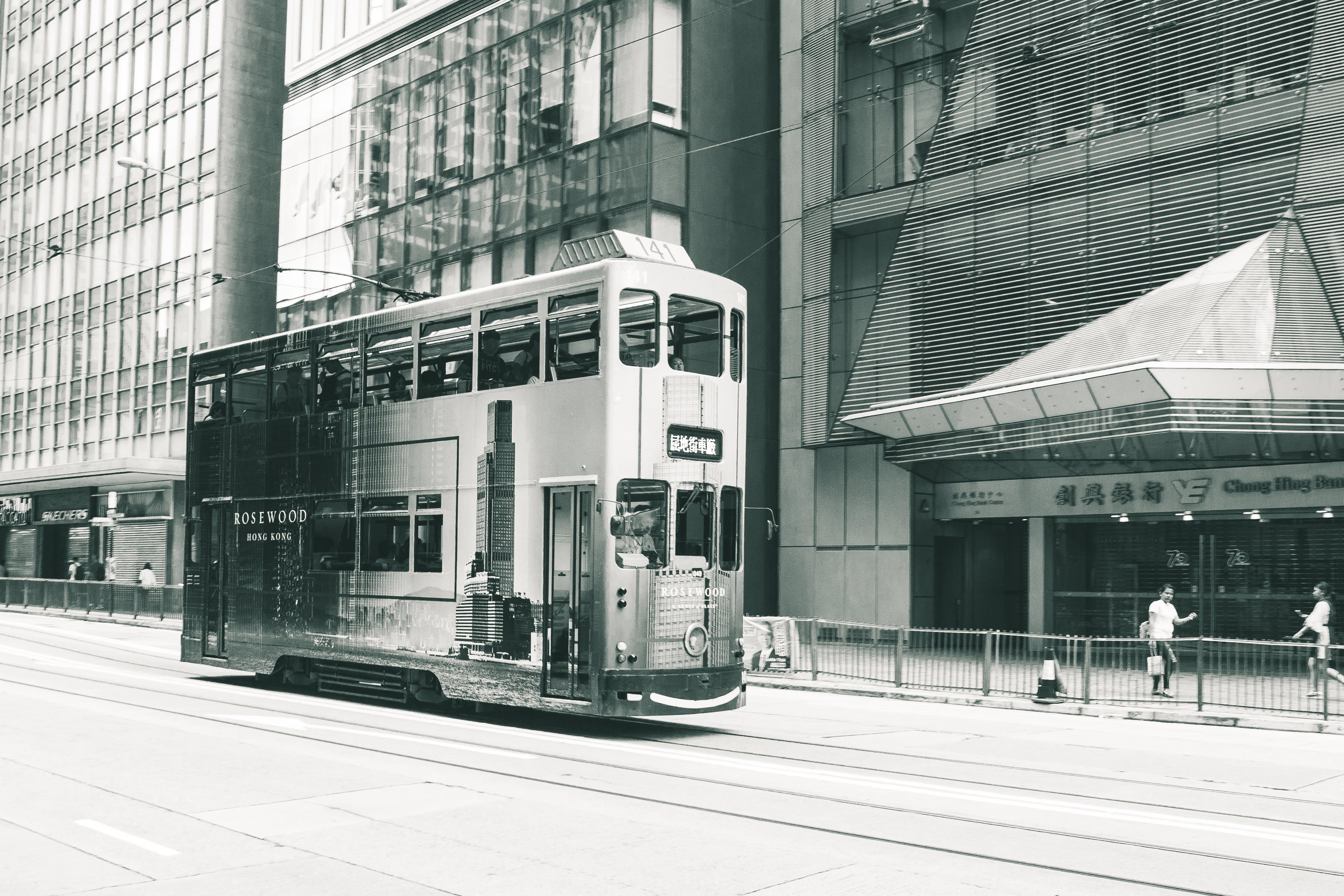 Double Decker Tram Black and White Photo