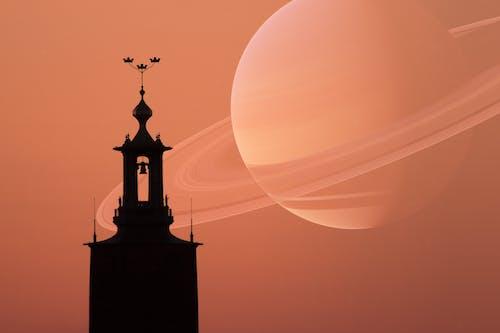 Foto stok gratis bayangan hitam, luar angkasa, matahari terbenam, planet
