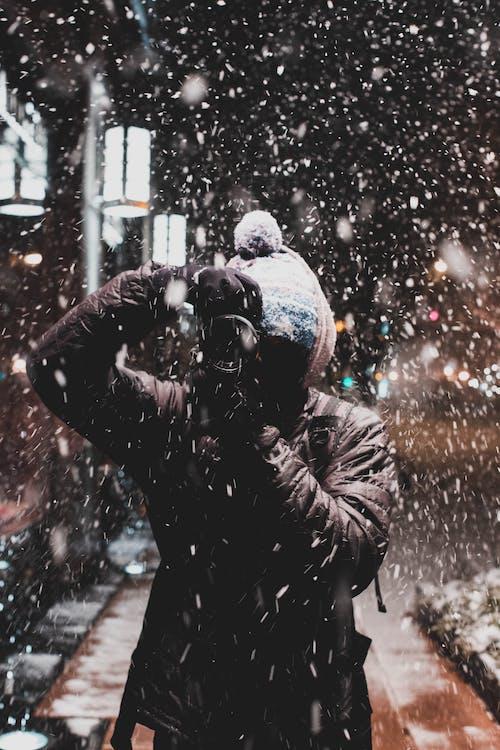 fotograf, ha på sig, kall