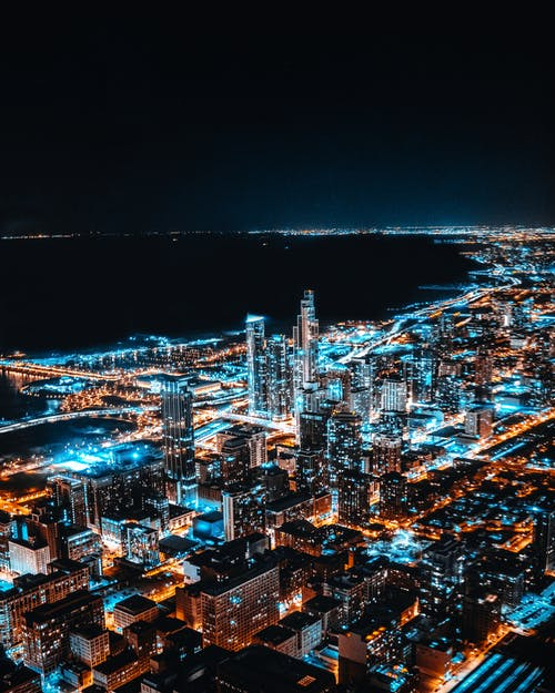 Aerial Photography Of Lighted High-rise Buildings