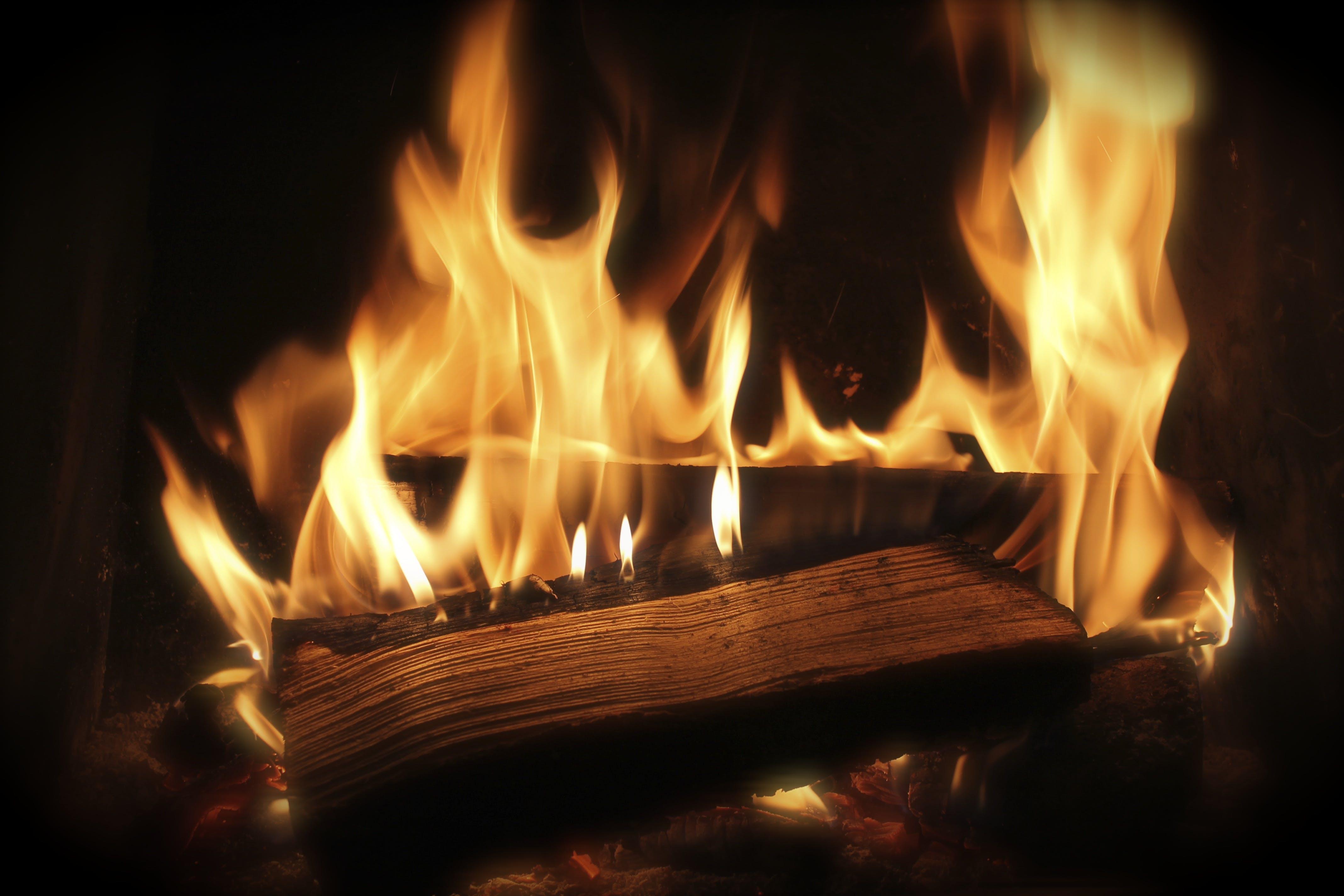 api, kayu, panas