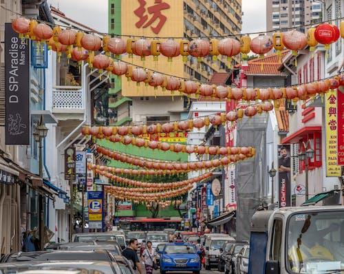 Základová fotografie zdarma na téma auta, Čínská čtvrť, město, městský život