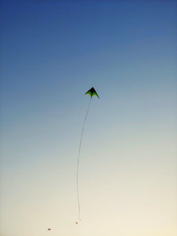 Green Kite Flying on Sky