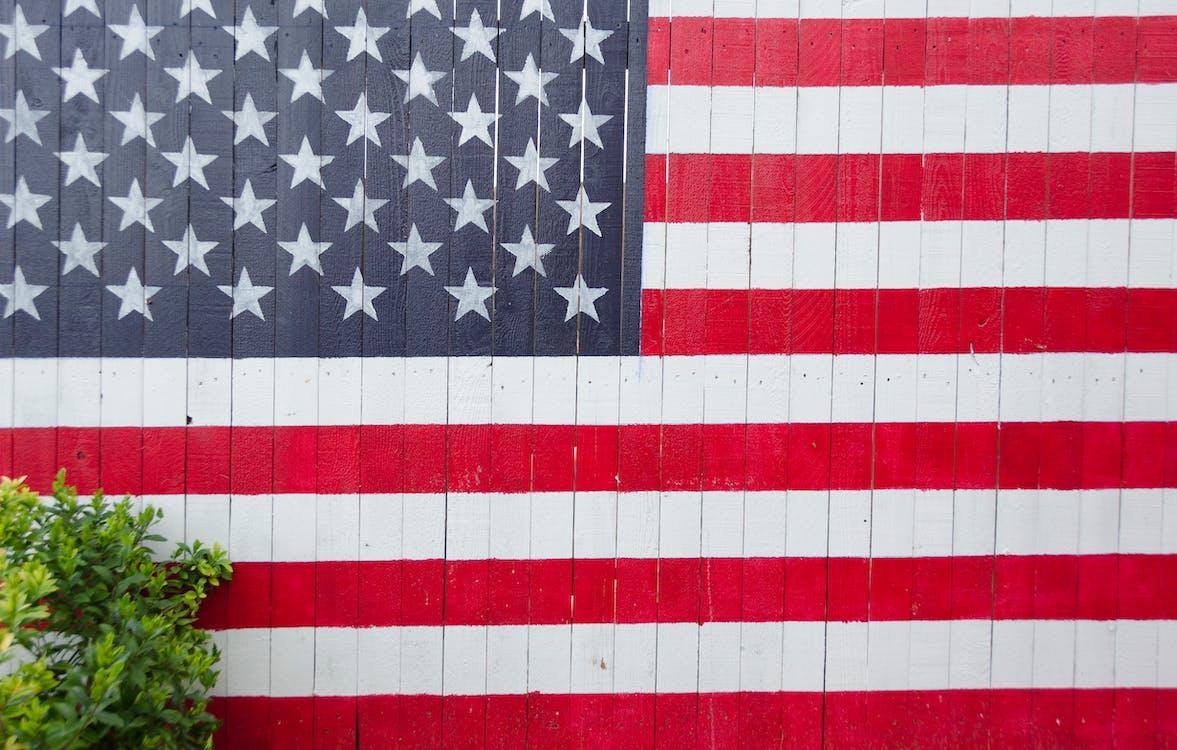 Amerikansk flag, close-up, dagslys