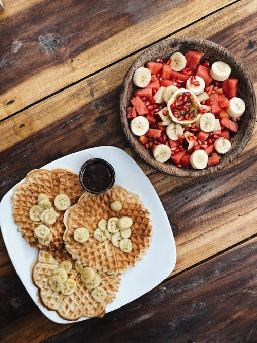 Waffles and Fruit Salad