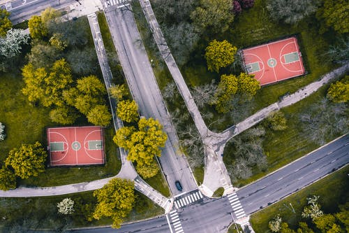 Photos gratuites de aérien, arbres, basket-ball, drone
