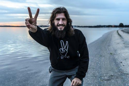 Základová fotografie zdarma na téma dlouhé vlasy, ježíš, mír, muž