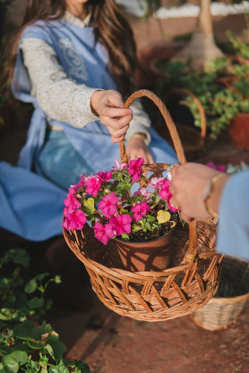 Two Person Holding Wicker Basket With Red Petal Flowers Inside