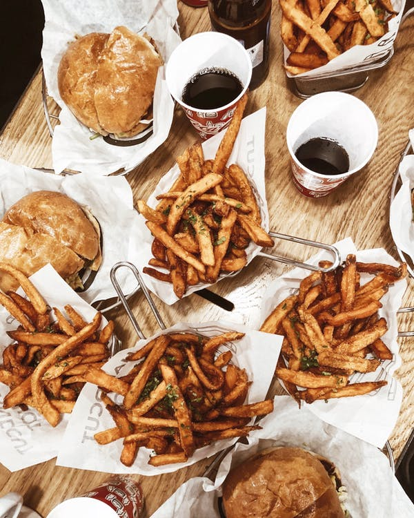 French Fries and Burgers