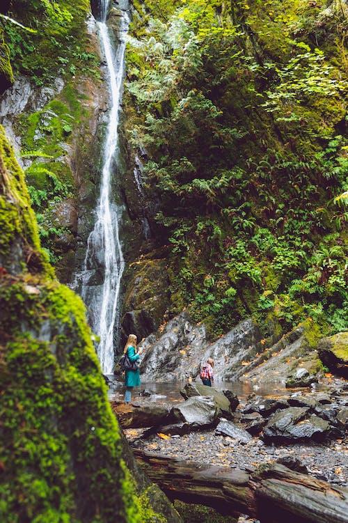 Woman Standing on Rock Near Waterfall