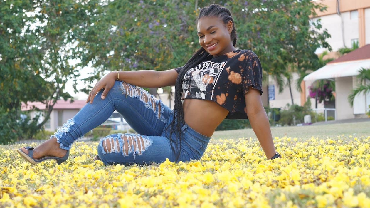 modell, vakker blomst, vakker kvinne