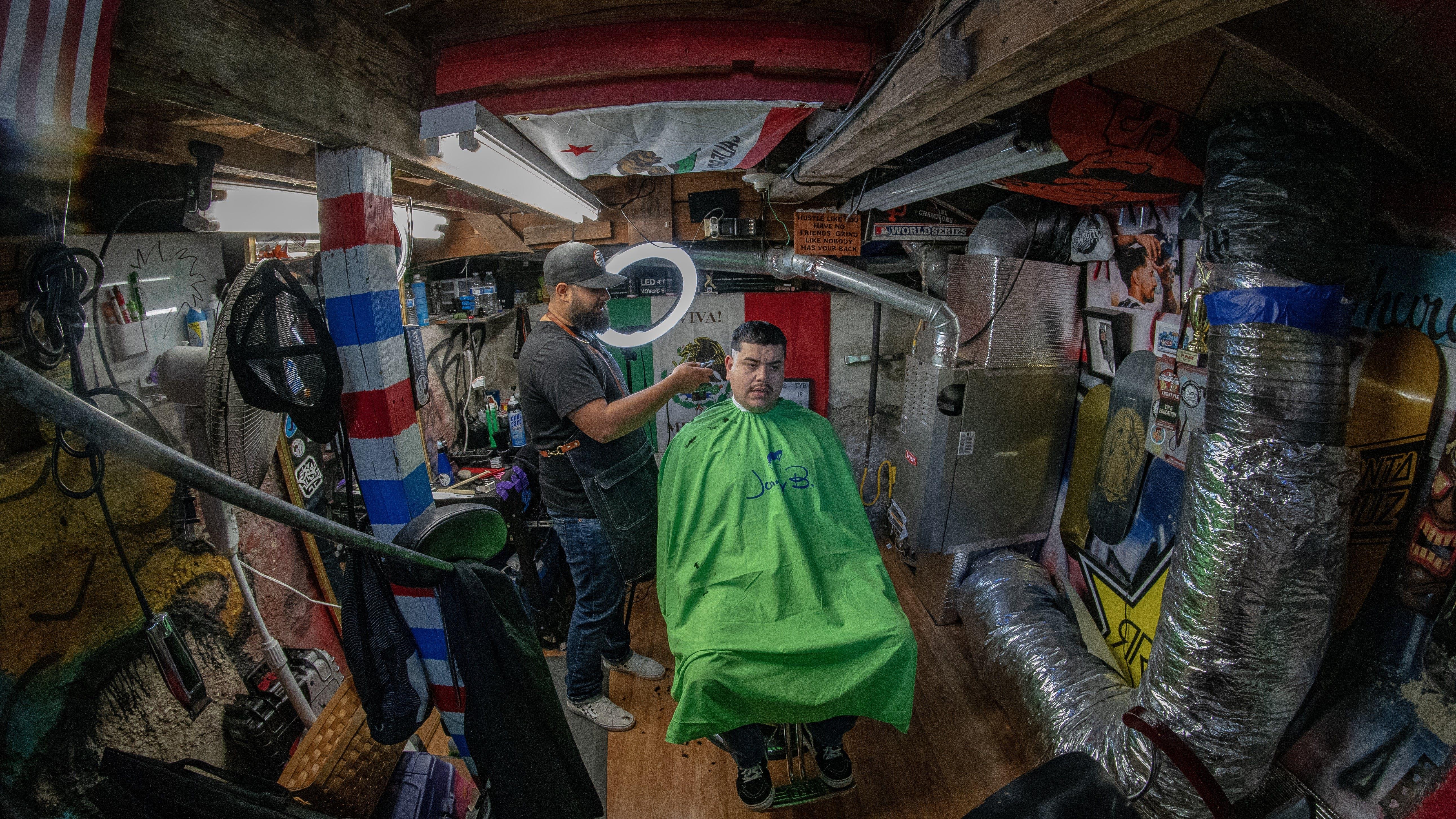 Free stock photo of barber, barbershop, fisheye, friend