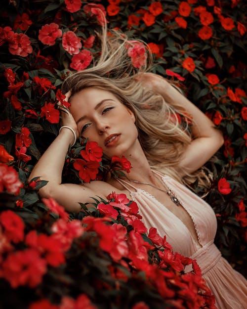 Kostnadsfri bild av attraktiv, blommor, blond, ha på sig