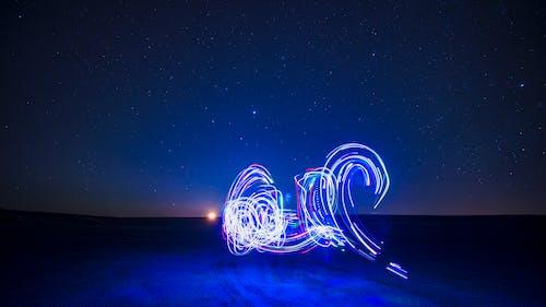 Fotobanka sbezplatnými fotkami na tému lightpainting, obloha, východ mesiaca
