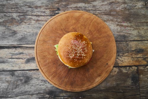 Burger On Round Wooden Tray