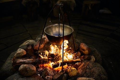 Gratis stockfoto met bloempot, bonfire, brandhout, kampvuur