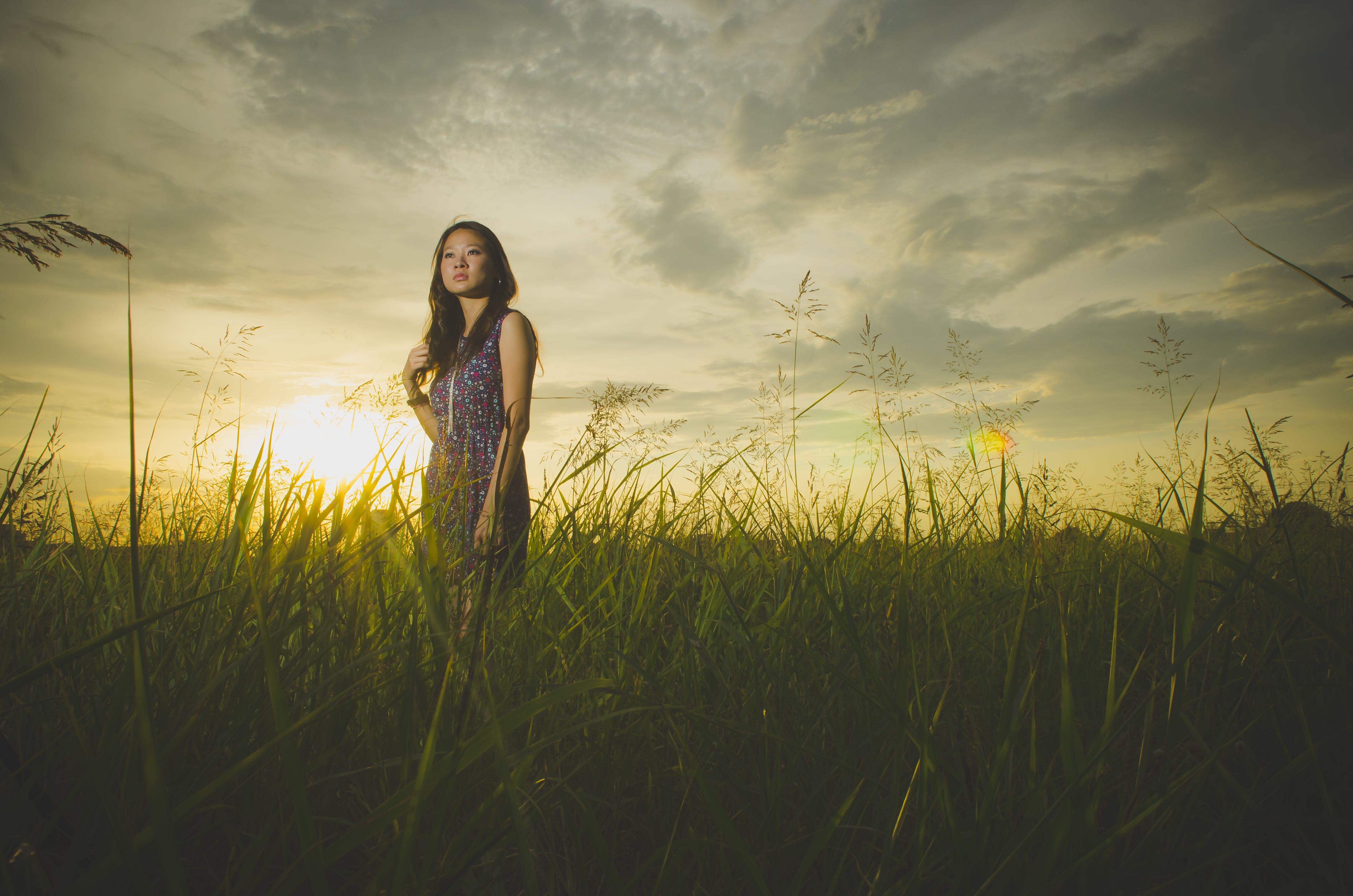 akşam karanlığı, alan, Asyalı kadın, bayan içeren Ücretsiz stok fotoğraf