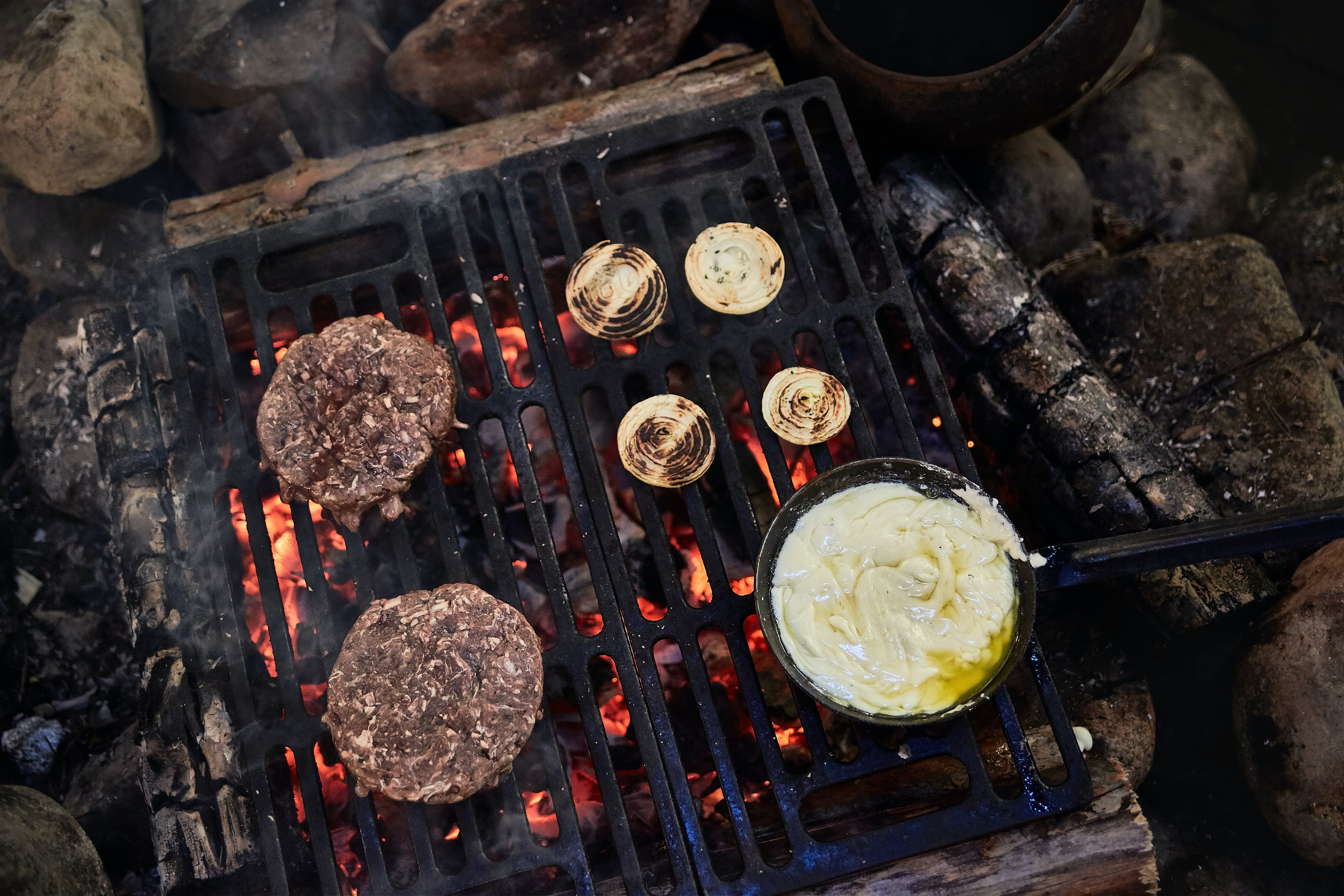 Two Patties On Grill