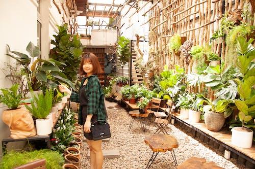 Femme Debout à Côté Des Plantes