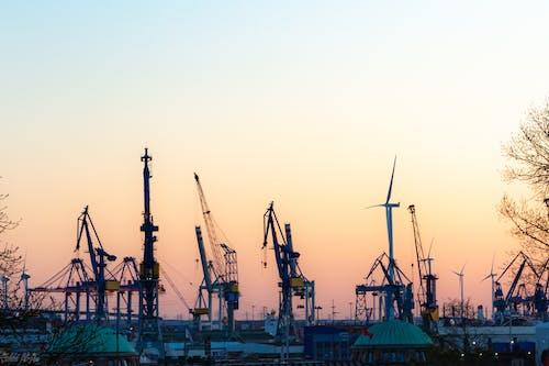 Ingyenes stockfotó aranyóra, Hamburg, naplemente témában