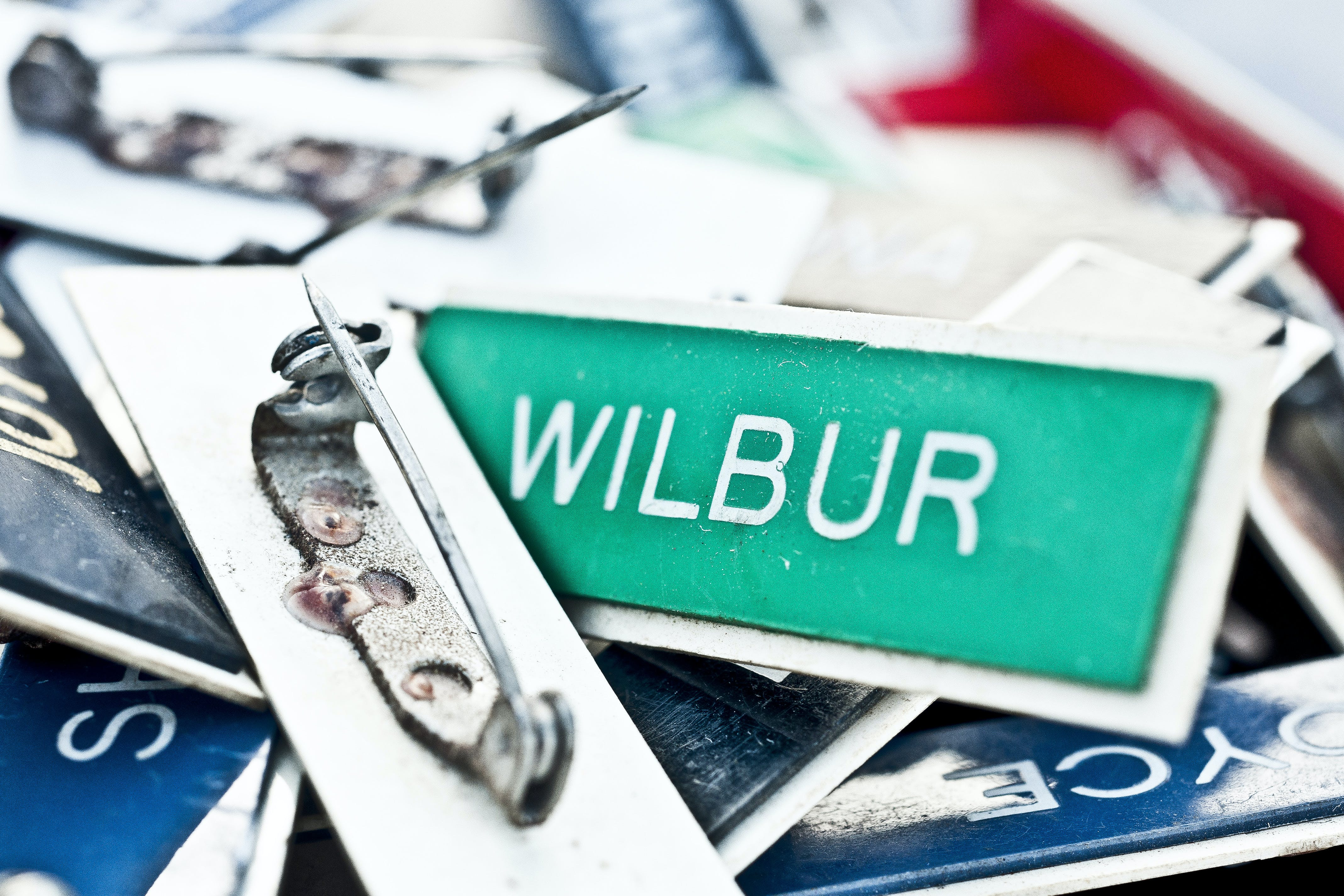 Green and White Wilbur Text